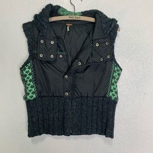 Free People gray puffer vest with wool Nordic knit